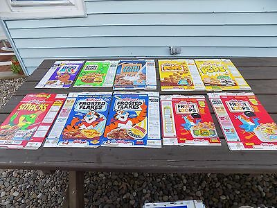 Vintage Lot of 10 Kellogg's Cereal Boxes Bigg Mixx, Corn Pops, Smacks, Mini Buns