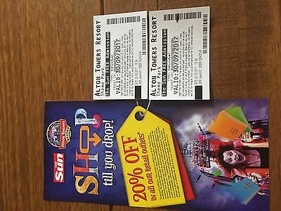 Alton towers admission tickets x2
