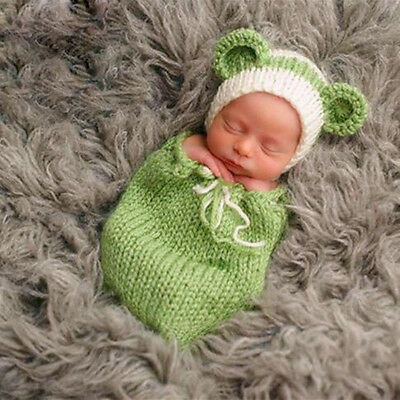 Cute Unisex Newborn Baby Kids Hat Sleeping Bag Set Crochet Knit Photography Prop
