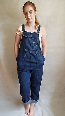 Maternity Dungarees Size 12 L30 Denim Overalls Mid Blue Jumpsuit Stretch