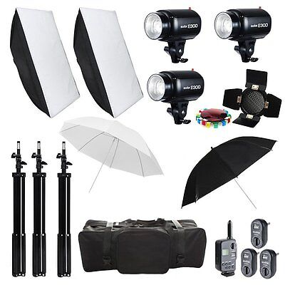 3X Godox E300 900W Studio Flash Strobe Lighting Stand  Softbox Trigger Kit 220V