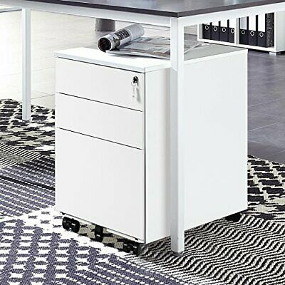 Filing Pedestal Cabinet Office 3 Drawers Chest Lockable 3 Colors Under Desk