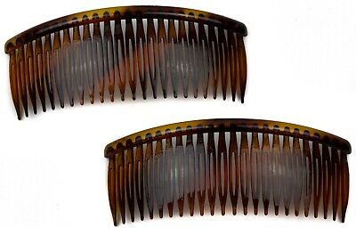 2 pcs Long Large Tort Brown Plastic Side Hair Combs Slides Grips Unbreakable