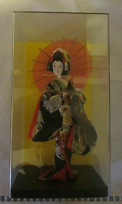 JAPANESE DOLL (miniature) in DISPLAY BOX - Purchased in Japan in 1970s