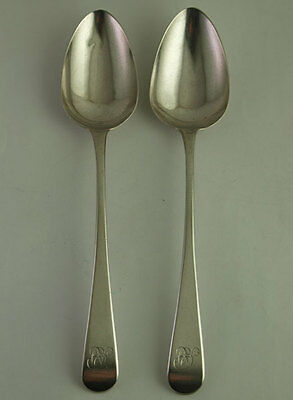 Pair Of George III Solid Silver Tablespoons - 99g - Lond 1808