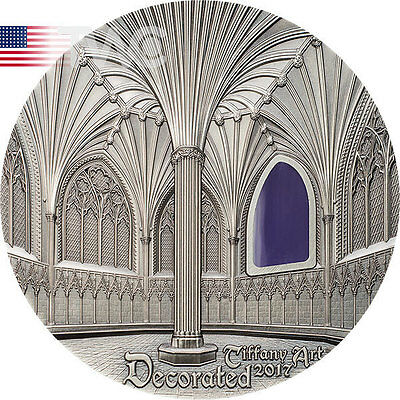 Palau 2017 10$ Wells Cathedral Decorated Chapel Chapter House Tiffany Art 2oz Ag