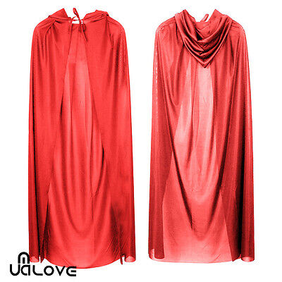 Adult Ladies Red RIDING HOOD LONG CAPE World Book Day Girls Fancy Dress Costume