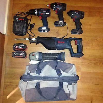 Bosch 18v Brushless Hammer Drill + Impact Wrench/ Driver+Impact Drive+grinder