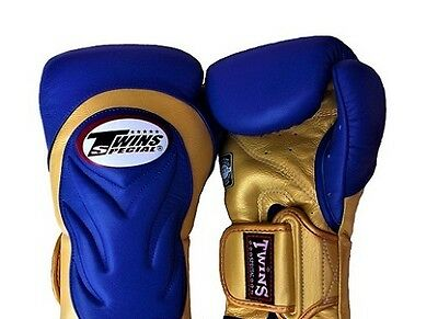 Twins Special Muay Thai Boxing Gloves New Bgvl-6 Blue-Gold 12 oz Martial Arts