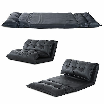 Black Modern Lounge Sofa Bed Floor Sleeper PU Leather Eff Seat Chaises Lounger