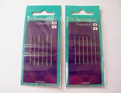 2 PACKS of   CROSS STITCH NEEDLES size 24 and size 26