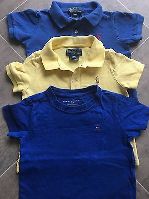 2x Ralph Lauren Baby Boy's Polo Shirts, 1x Tommy Hilfiger T-shirt Age 18M