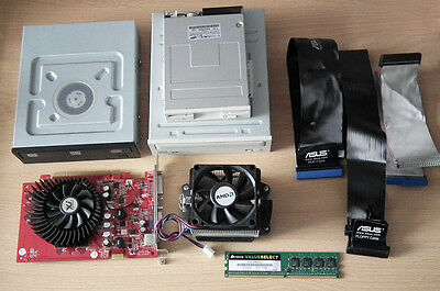 Bundle of PC Parts - Graphics Card, Fan, Floppy Disk Drive, DVD+RW, RAM