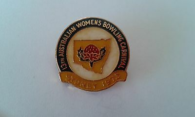 Badge 13th Aust Womens Bowling Carnival Sydney 1973 with pin