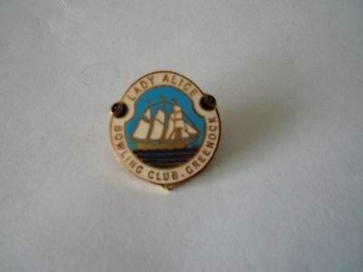 Badge Lady Alice Bowling Club Greenock with pin