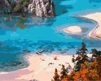 "DIY Paint By Numbers kit 16*20"" Oil Painting Blue Ocean & Beach On Canvas 1382"
