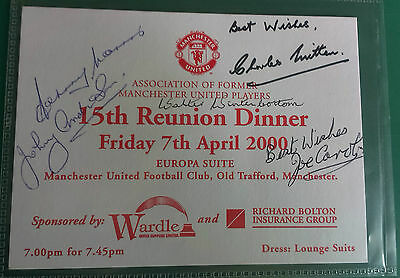 MANCHESTER UNITED - FOOTBALL SIGNED DINNER CARD. RARE SIGNATURES - inc 1948 FAC