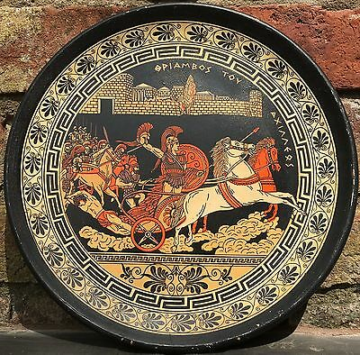 Repro Ancient Greek Hand-Painted Plate Platter - Large Terracotta Plaque 13