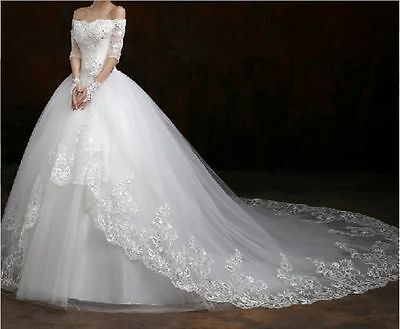 New Lace Ivory/White wedding bridal gown dress custom size 6-8-10-12-14-16-18+++
