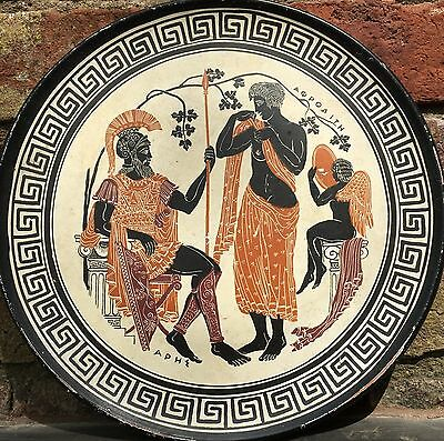 Repro Ancient Greek Hand-Painted Plate Platter - Large Terracotta Plaque 14