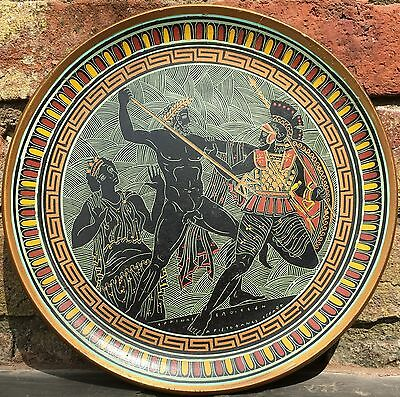 Repro Ancient Greek Hand-Painted Plate Platter - Large Terracotta Plaque 12