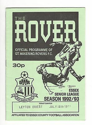 Gt Wakering Rovers v Leyton Orient 1992 - 1993  friendly