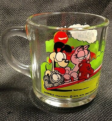 Vintage McDonald's Clear Glass Coffee Mug Features Garfield & Odie Cartoon