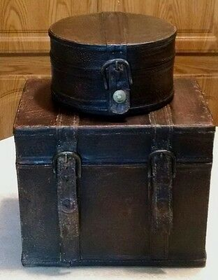 2 Vtg Distressed Brown Leather Wrapped Wooden Jewelry Storage Felt Lined Boxes