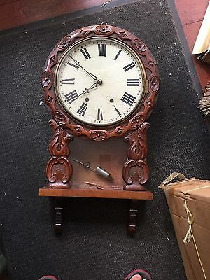 Large CARVED WALNUT  American Wall Clock by WML Gilbert  Winchester Connecticut