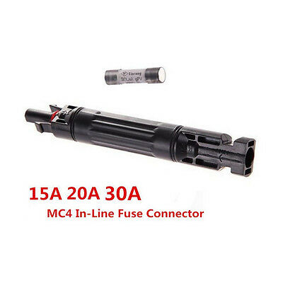 15/20/30A MC4 in-line Fuse Connector Solar Panel Cable Connectors Waterproof NEW
