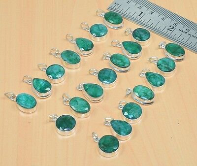 Free Ship 925 Sterling Silver Plated Wholesale 21Pc Green Emerald Pendant Lot