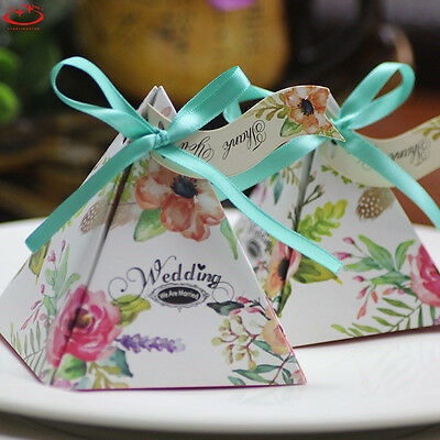 10pcs Triangle Sweet Cake Candy Boxes Wedding Party Favor Ribbon Gift Boxes Bags