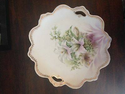 Antique Rs Prussia Porcelain Cake Plate With Handles Flowers Design