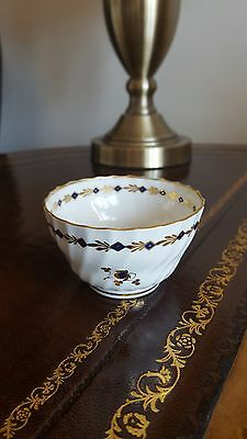 Antique Worcester Gilt Rim Regency Wyvern Tea Bowl Blue Crescent 1820s