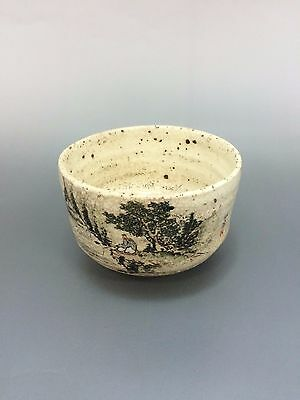 Japanese Vintage tea bowl Yunomi porcelain with fishing man and mountain design