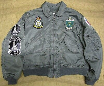 Genuine Us/usaf Cwu Cold Weather Flyer's Jacket With Rare Patches. Sage. Large.