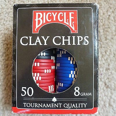 Box of 50 Bicycle Clay Poker Chips 8 Gram Perfect For Texas Hold-Em New In Box