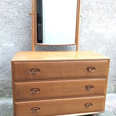 Ercol Vintage1960's Rare Windsor Dressing Chest with Tilting Mirror 3 Drawers