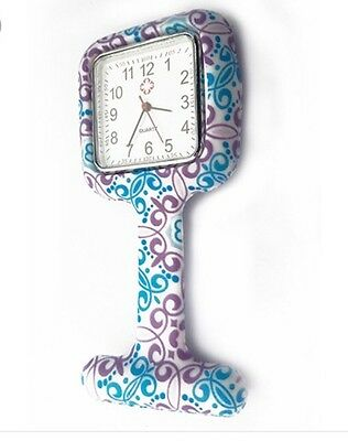 Lovely Patterned Square Shaped Silicone Nurse Fob Watch