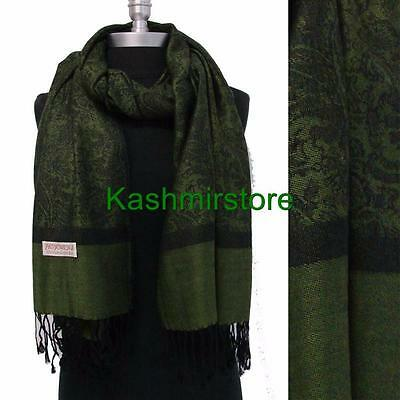 Soft PASHMINA Paisley Floral Silk Wool Scarf Wrap Shawl Classic Green Black#b3