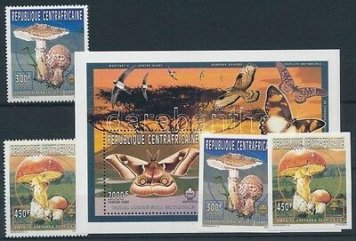 Central African Republic stamp Scouting, mushrooms, butterflies set MNH WS234917