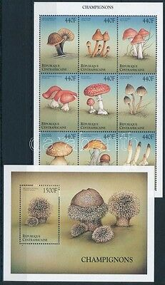 Central African Republic stamp Mushrooms minisheet + block MNH 1999 WS233967