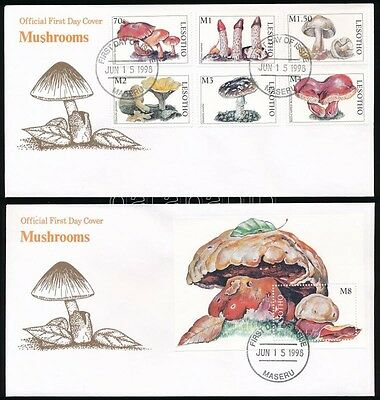 Lesotho stamp Mushrooms set + block on 2 FDC Cover 1998 WS233922