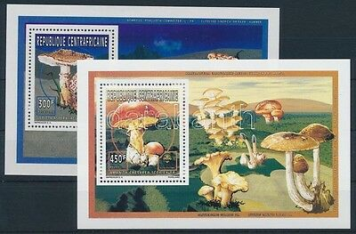 Central African Republic stamp Mushrooms 2 blocks MNH 1997 Mi 1777-1779 WS234088