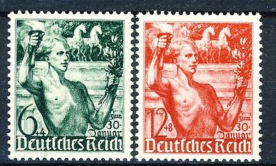 """1938 Germany complete set of 2 MNH stamps """"Torchbearer""""  Michel 660-661"""