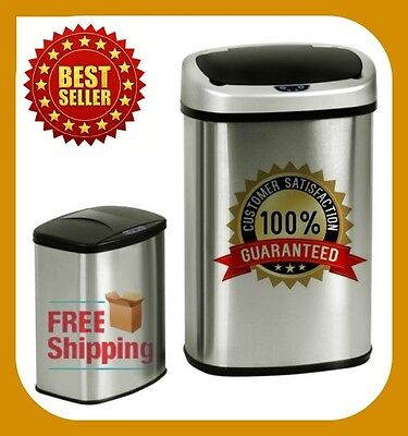 Set of 2 Sensor Trash Can Kitchen 50R with Free Sensor Automatic,Stainless-steel