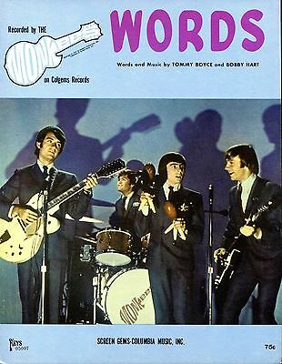 Monkees Words 1967 Nos-Near Mint! Colgems Records