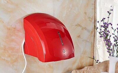 Red Wall Mounted Infrared Automatic Induction Quick Drying Hand Dryer Machine