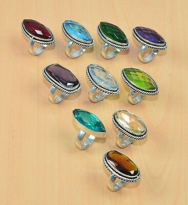 Wholesale 10Pc 925 Silver Plated Red Garnet & Mix Stone Ring Lot