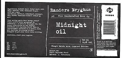 Danish Micro Brewery Beer Label Randers Bryghus Midnight Oil